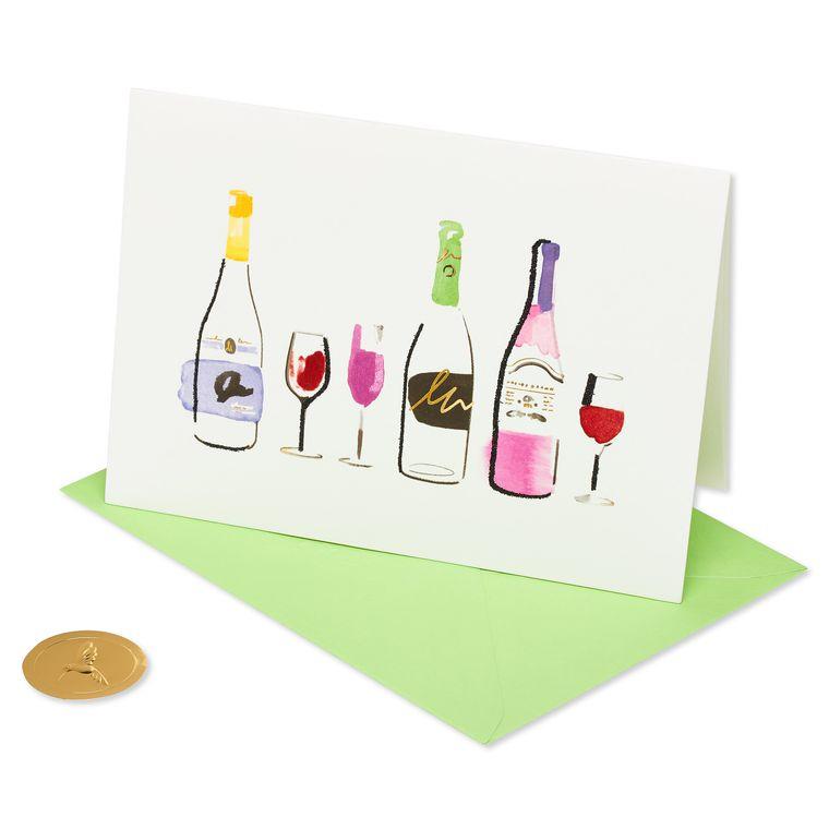 Wine Bottles Blank Greeting Card