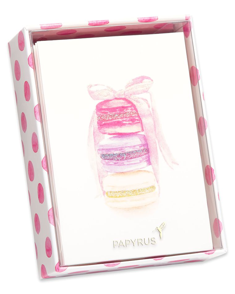 Stack of Macarons Boxed Blank Note Cards with Glitter and Envelopes, 14-Count