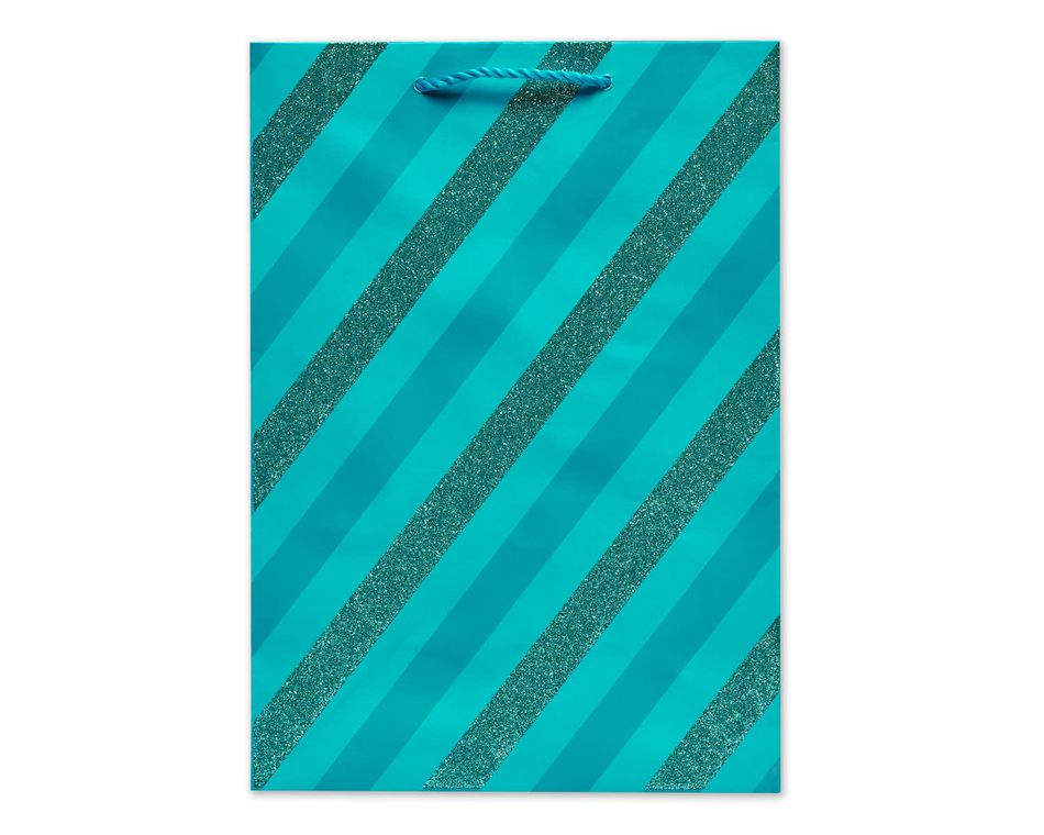 Small Gift Bag, Teal Stripes