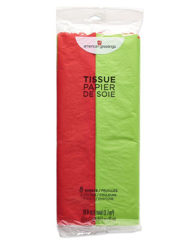 Red and Lime Green Tissue Paper, 8 Sheets
