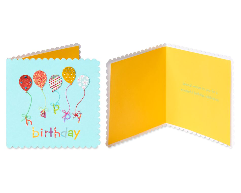 Balloons and Candles Birthday Greeting Card Bundle, 3-Count