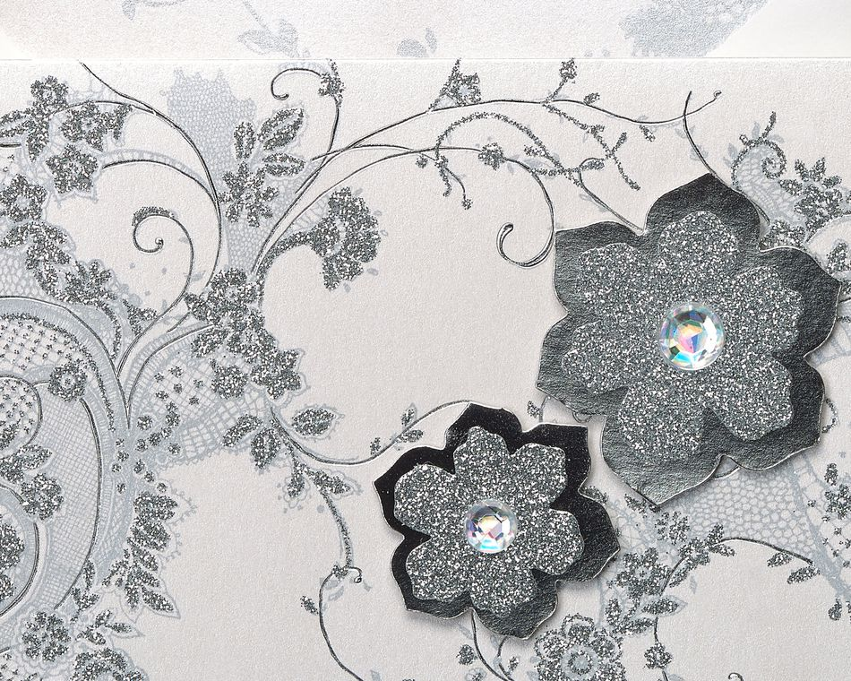 Lace and Flowers Handmade Boxed Blank Note Cards with Glitter, 8-Count