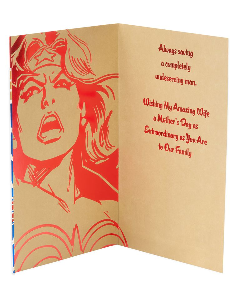 Funny Wonder Woman Mother's Day Card for Wife