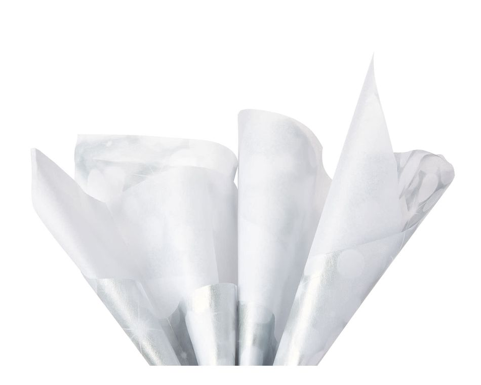 White and Silver Sparkle Tissue Paper, 6 Sheets