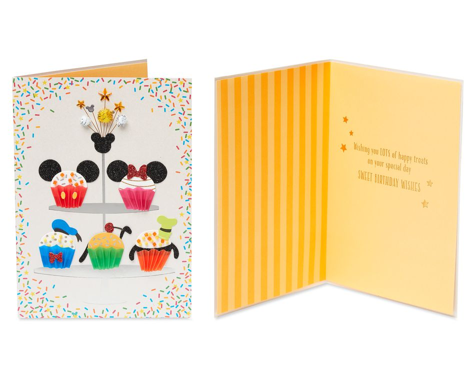 Mickey and Minnie Mouse Birthday Greeting Card Bundle, 3-Count