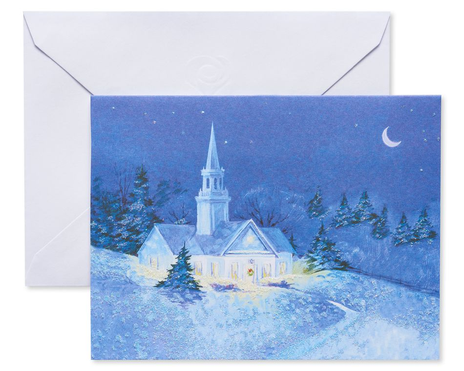 Church in the Snow Christmas Blank Note Cards, 10 Count