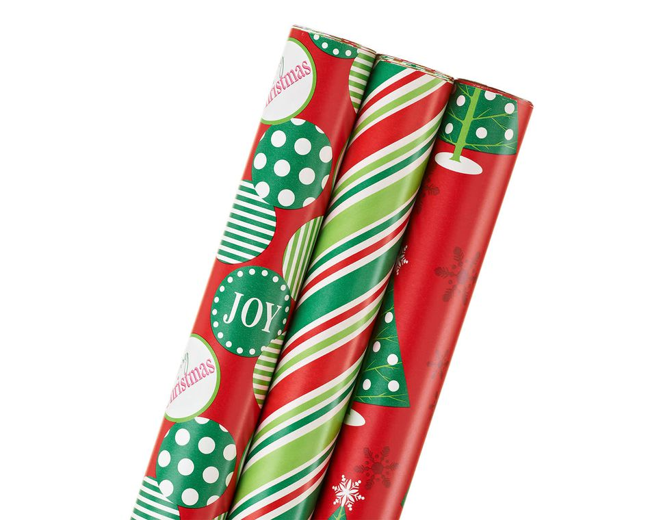 dots, stripes, and trees, christmas 3-roll wrapping paper