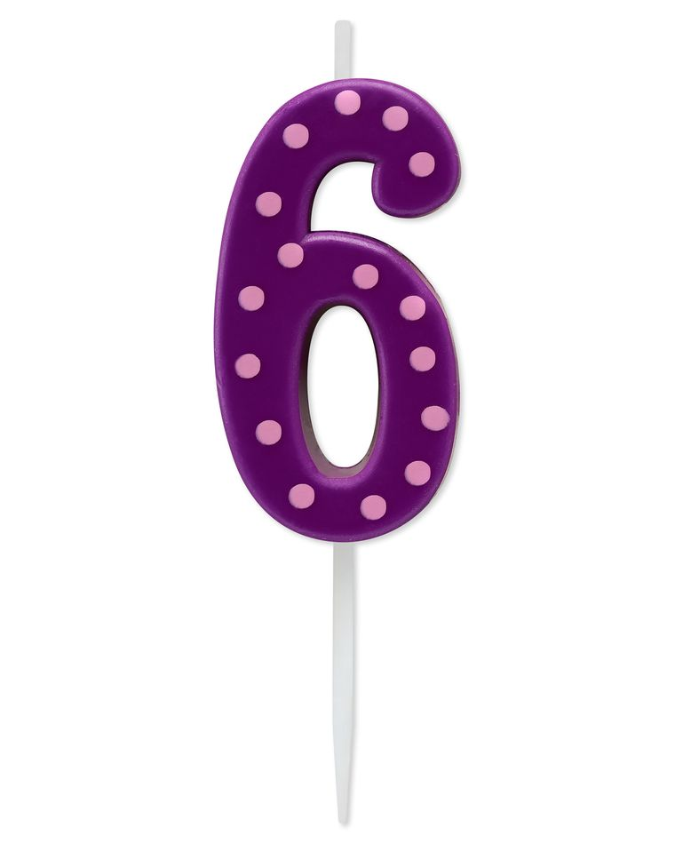 Purple Polka Dots Number 6 Birthday Candle, 1-Count