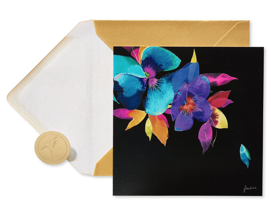 Colorful Flowers Blank Greeting Card