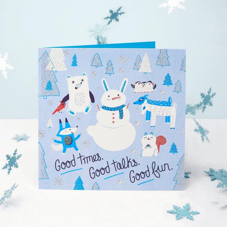 Snowmen Greeting Card - Christmas, Happy Holidays, Happy New Year, Hanukkah