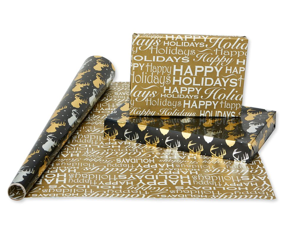 Christmas Foil Reversible Wrapping Paper, Black and Gold, Trees, Plaid, Script and Reindeer, 4-Roll, 30