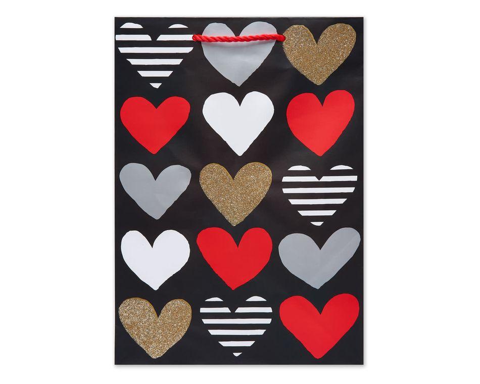 Small Multicolored Hearts Gift Bag