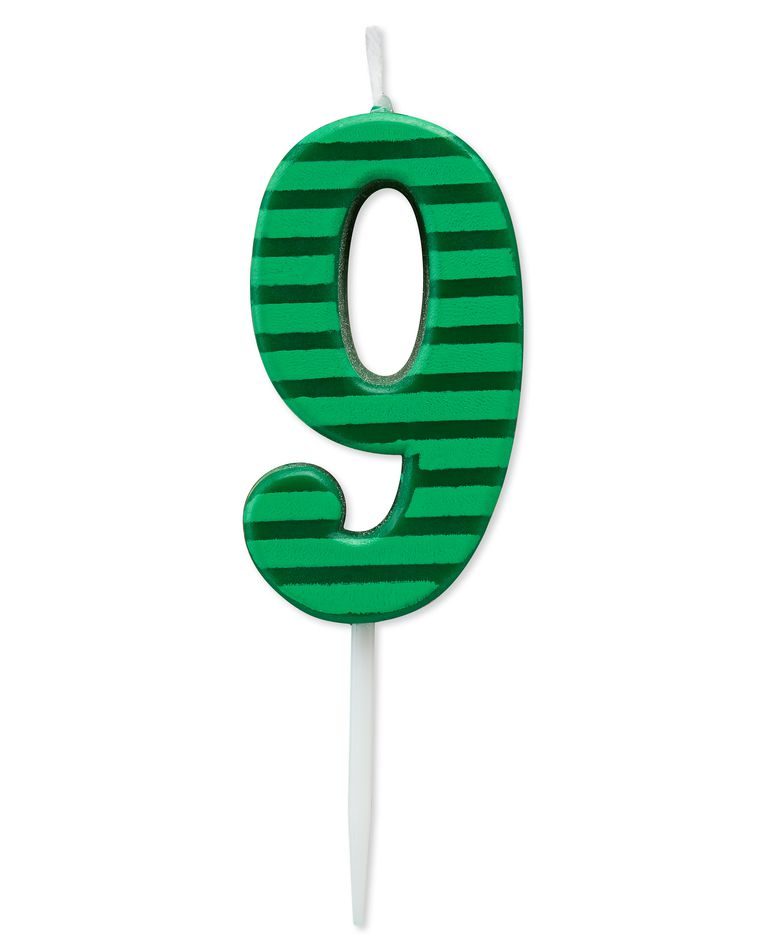 Green Stripes Number 9 Birthday Candle,  1-Count