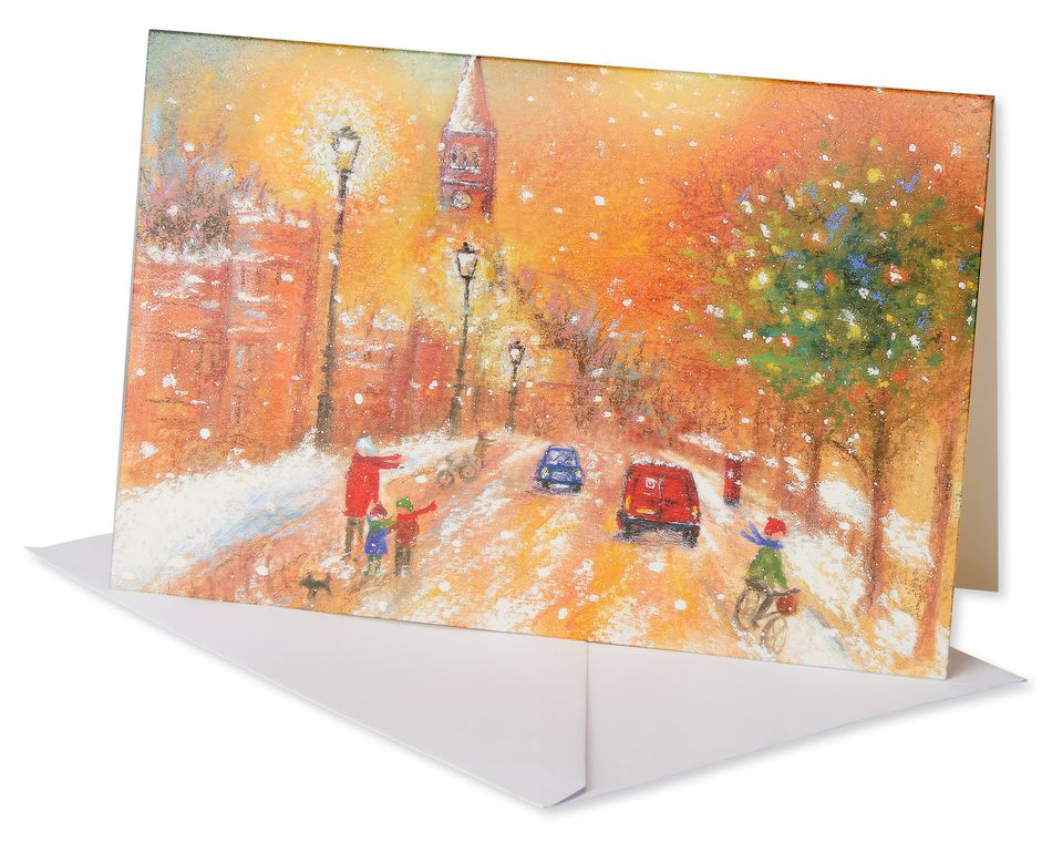 Snowy Street Christmas Boxed Cards, 14 Count