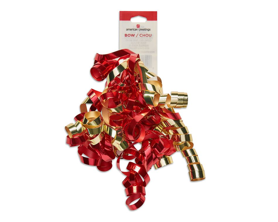 red and gold curly gift bow