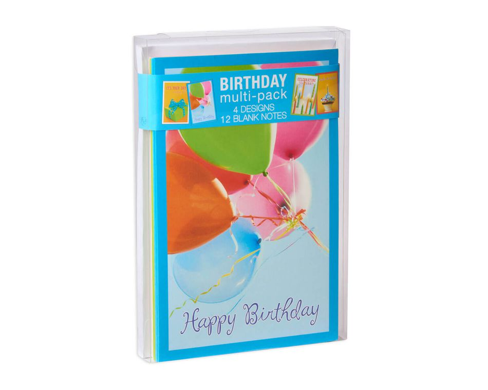 Balloons And Candles Assorted Birthday Cards Envelopes 12 Count