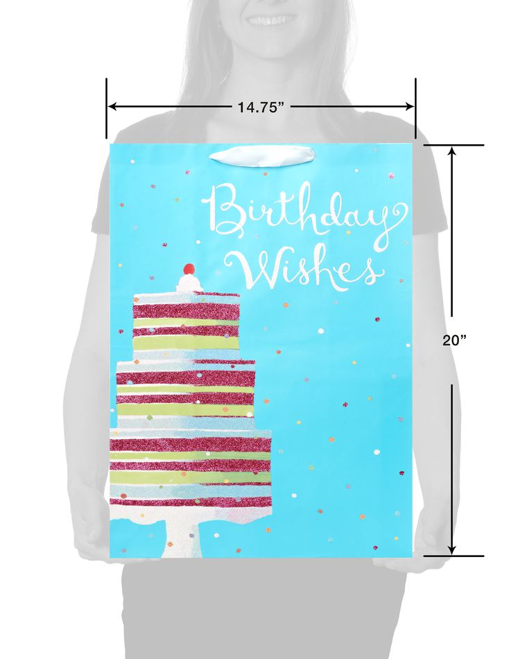 Jumbo Birthday Gift Bag, Birthday Wishes Cake
