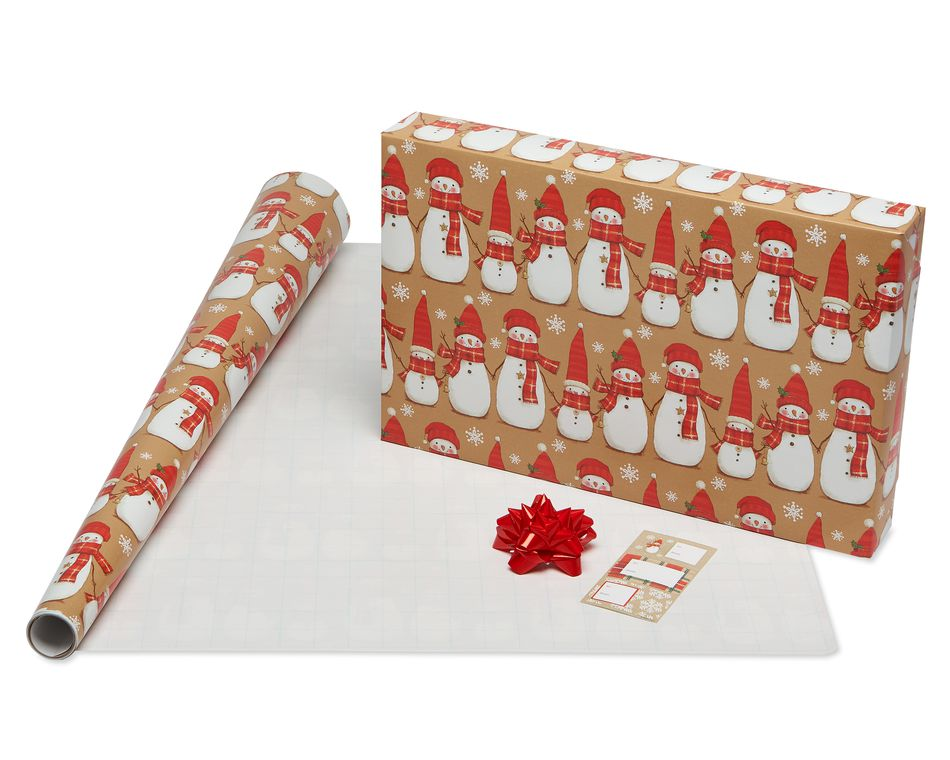 Christmas Wrapping Paper Ensemble with Bows and Gift Tags, Red, Green and Tan, Snowmen, Stripes, Plaid and Script, 4-Rolls, 41-Count