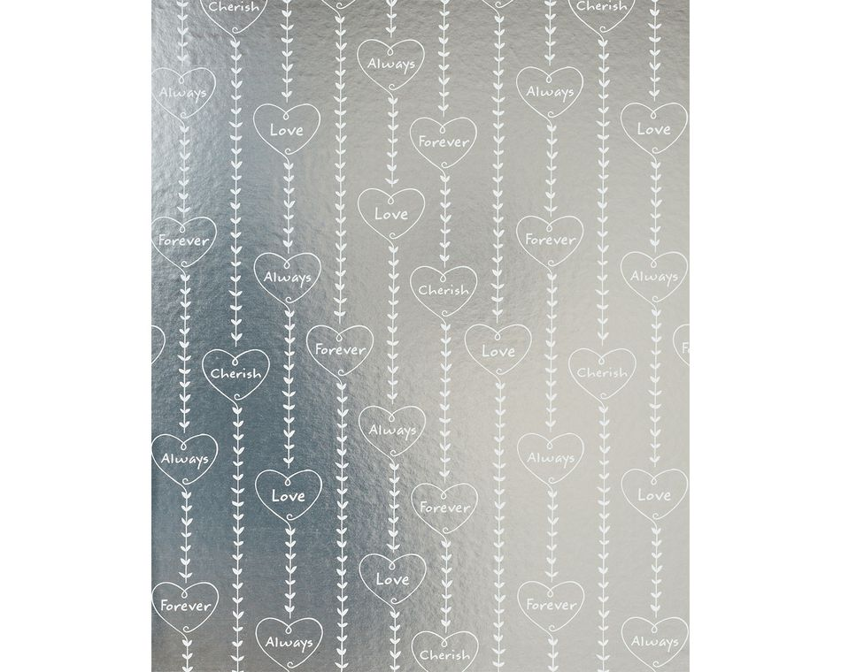 hearts on silver wrapping paper 20 sq. ft.