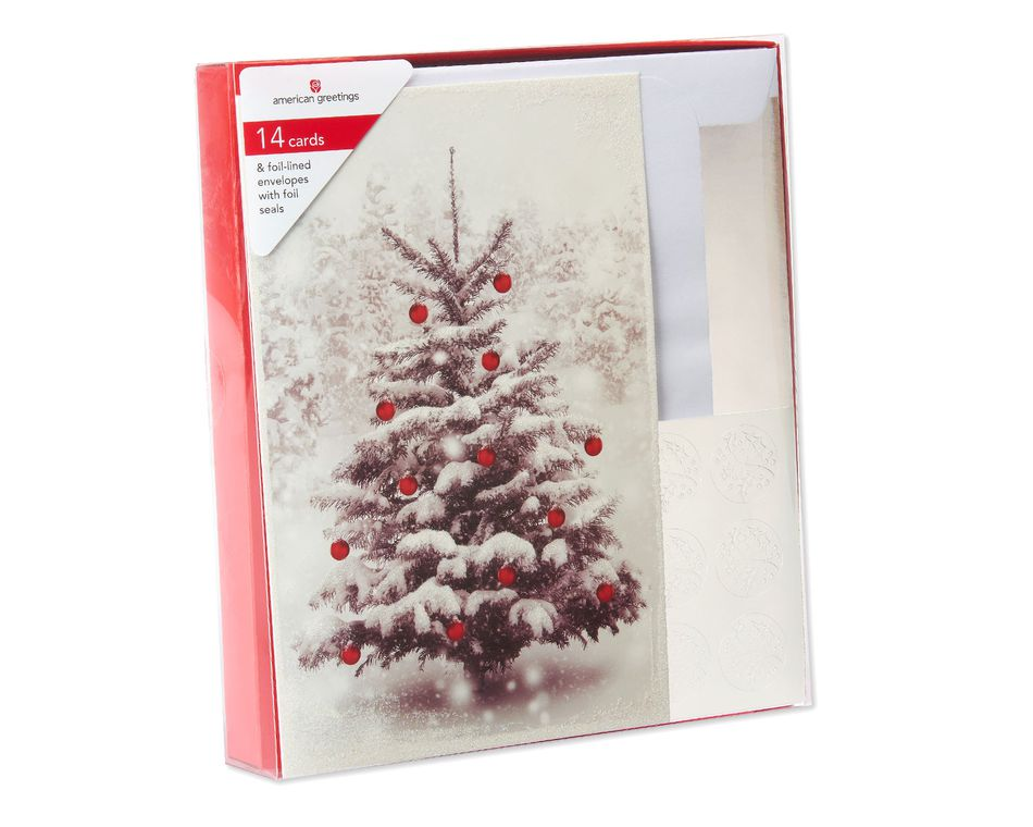 Snow Tree in Forest Christmas Boxed Cards, 14 Count
