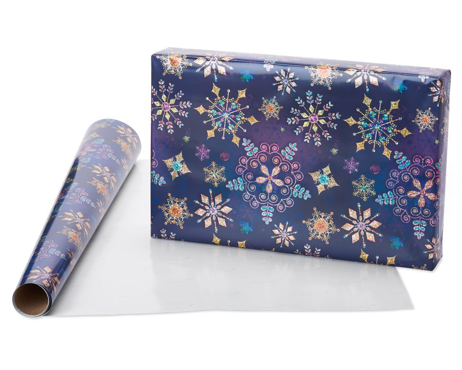 Jewel Tone Snowflakes, Holographic Snowflakes and Silver Metallic Christmas Wrapping Paper, 3-Roll