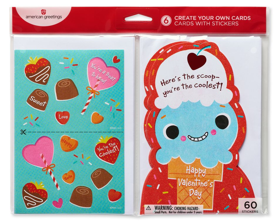 Ice Cream Valentine's Day Card, 6-Count