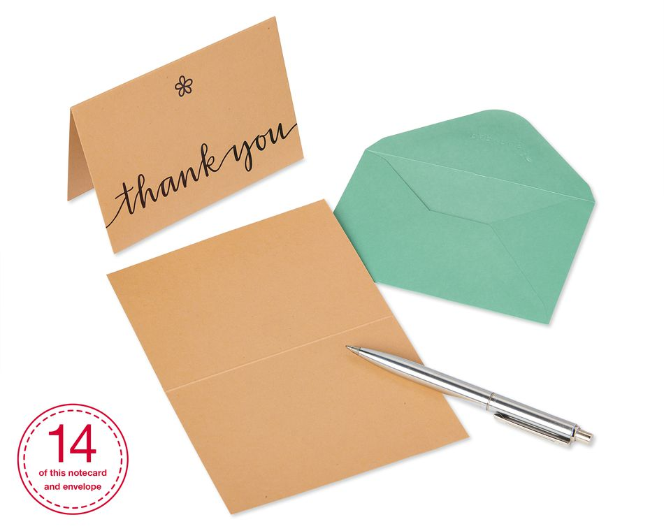 Kraft Boxed Thank You Cards and Envelopes, 14-Count
