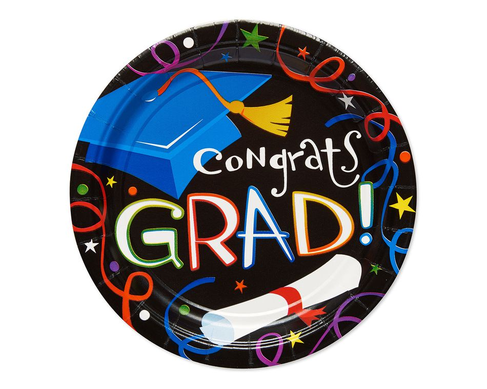 congrats grad dessert plate 8 ct