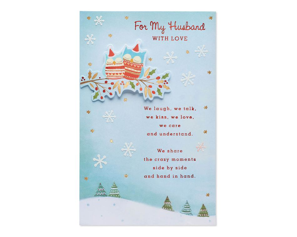 Husband Christmas Cards.Owls Christmas Card For Husband