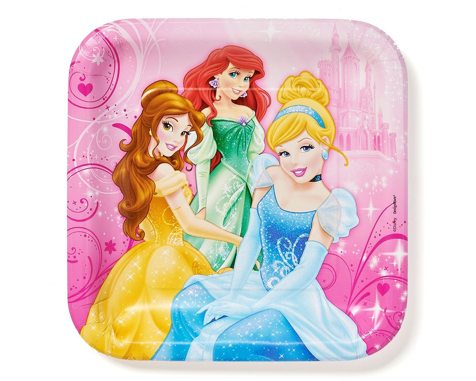 disney princess dinner square plate 8 ct