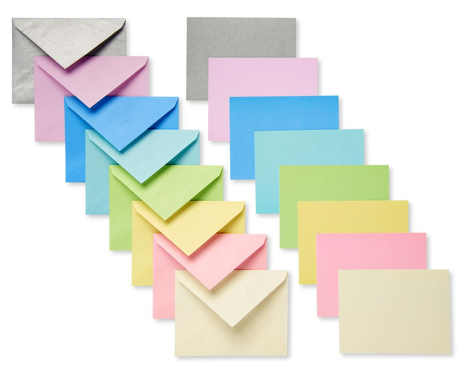 Pastel Blank Flat Panel Note Cards and Colored Envelopes, 100-Count
