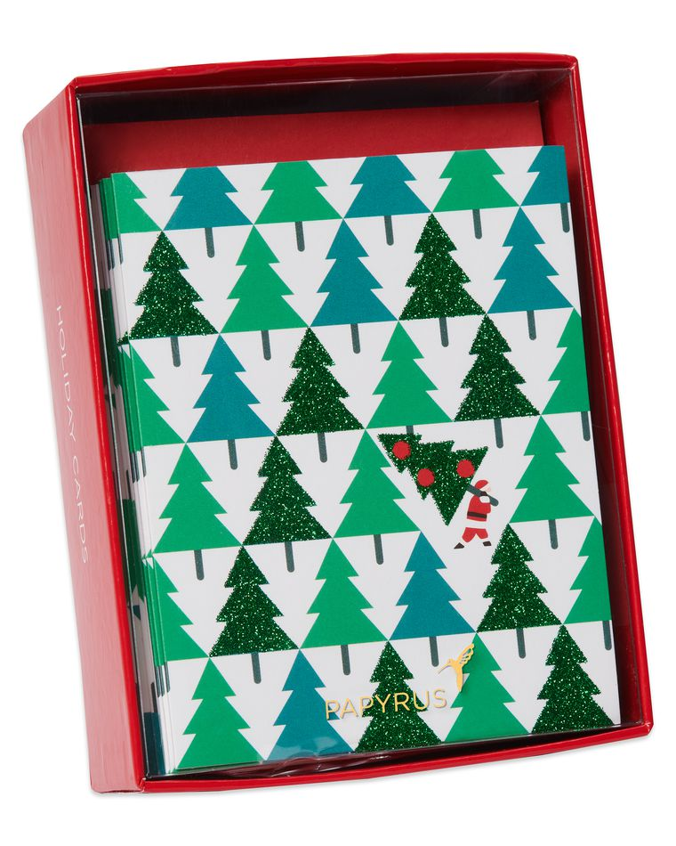 Glitter Pine Trees with Santa Holiday Boxed Cards, 20-Count
