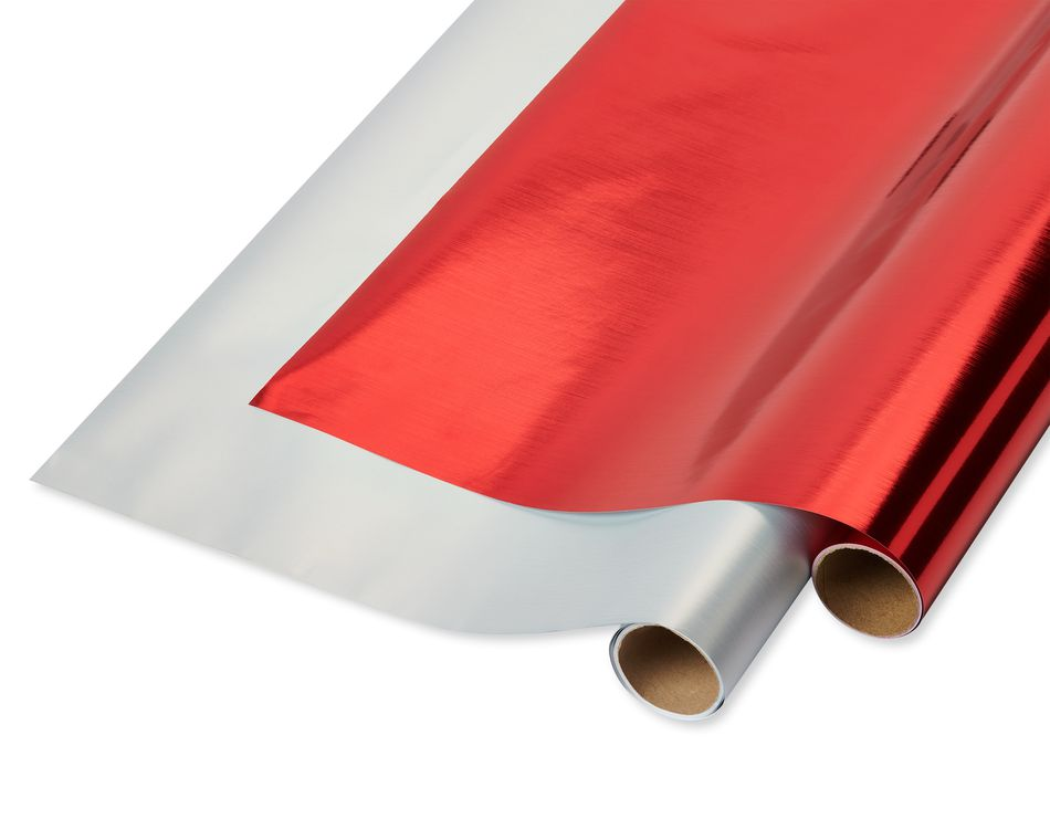 Red and Silver Holiday Wrapping Paper, 2-Roll