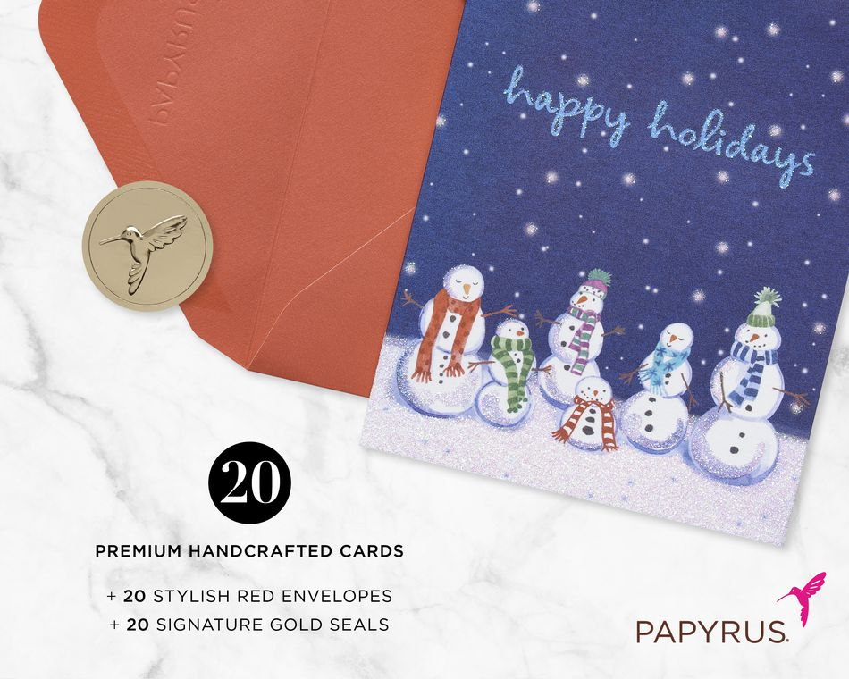 Cheery Snowmen Holiday Boxed Cards, 20-Count