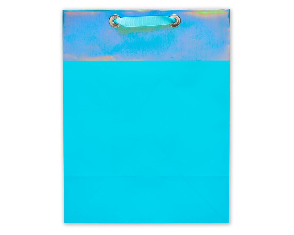 medium aqua metallic gift bag