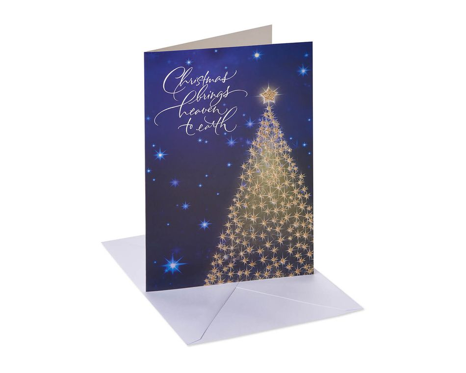Gold Glitter Christmas Tree Religious Boxed Cards and White Envelopes, 12-Count