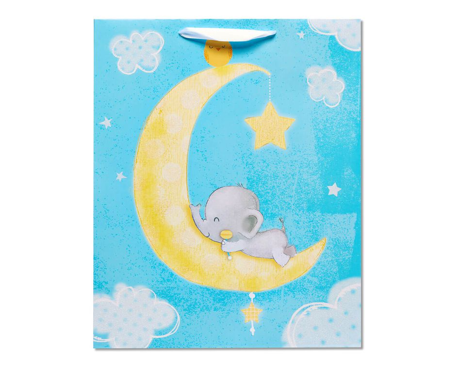 Extra-Large Baby Elephant on Moon Gift Bag