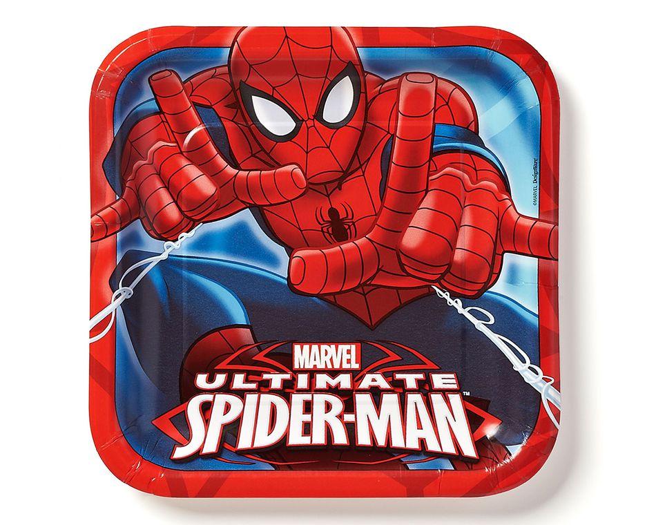 spider-man dessert square plate 8 ct