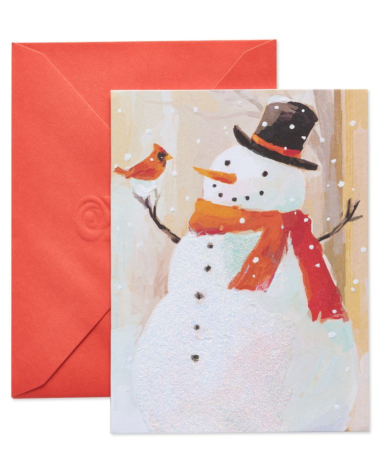 Snowman and Bird Christmas Blank Note Cards, 10-Count