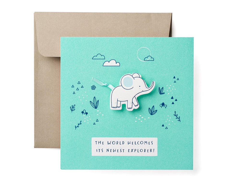 Elephant Baby Boy Congratulations Card
