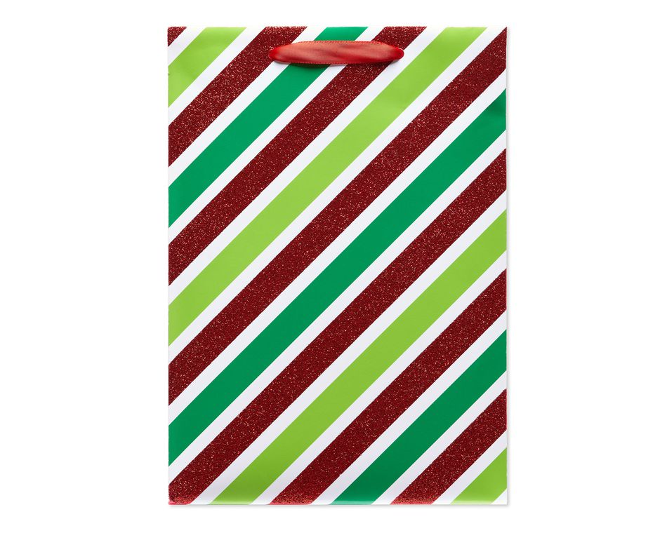 Green and Red Stripes Small Christmas Gift Bag