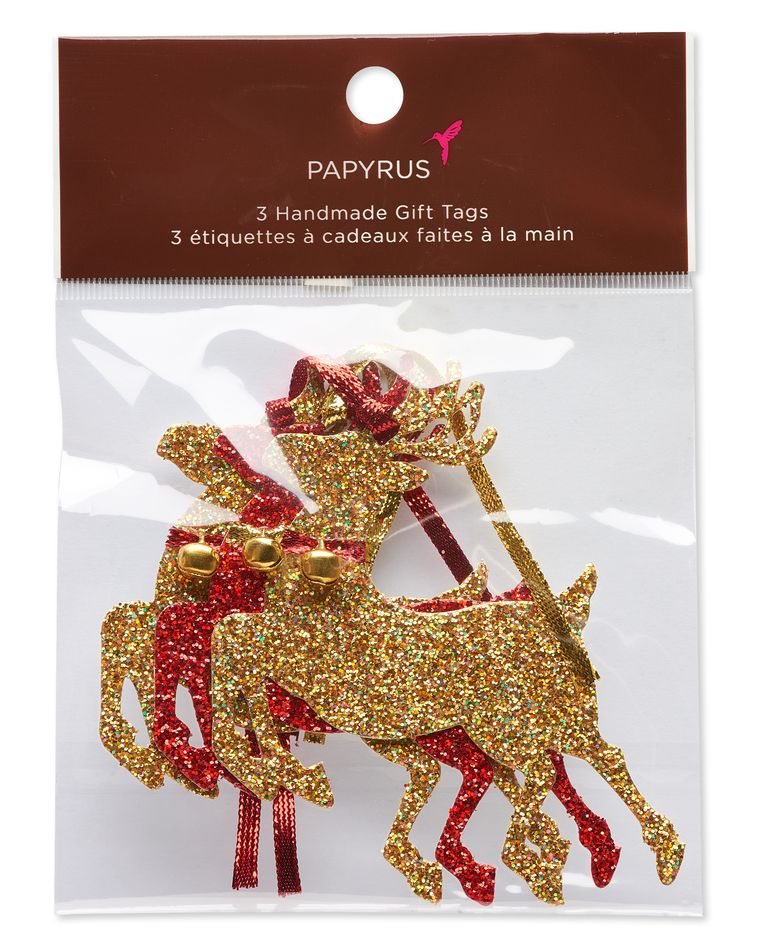 Gold Glitter Deer Holiday Tags