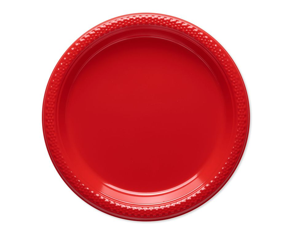 bright red plastic dessert plates 20 ct