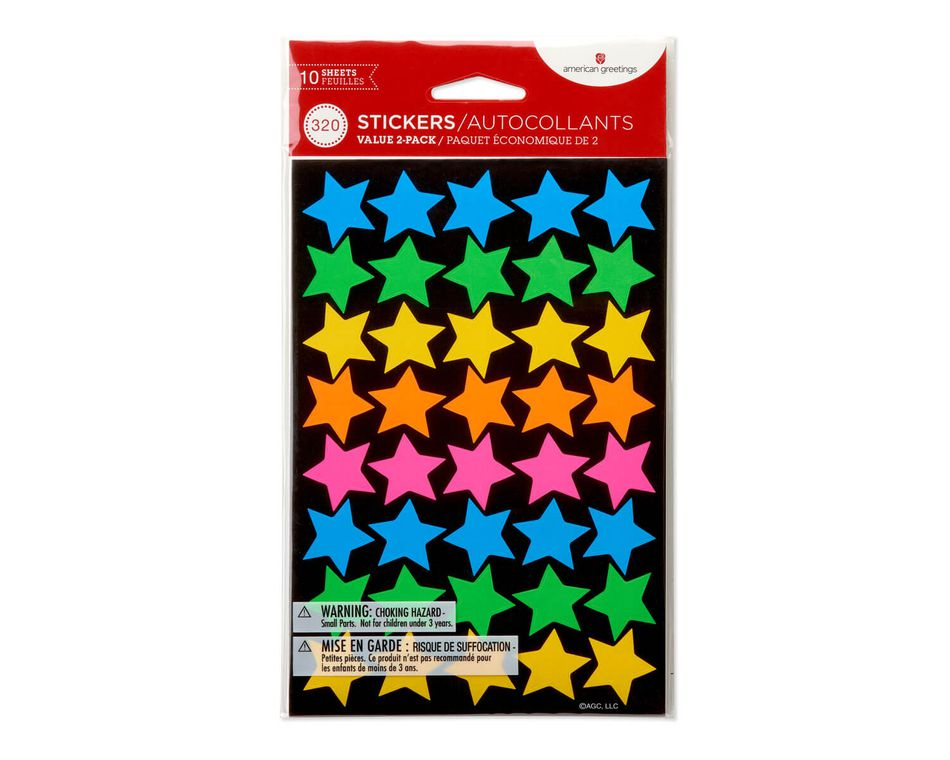 Neon Smiles and Stars Stickers, 320-Count