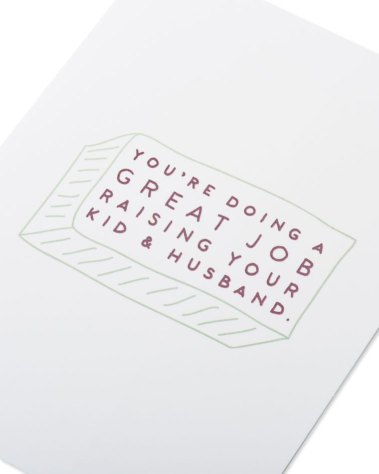 raising kid and husband mother's day card