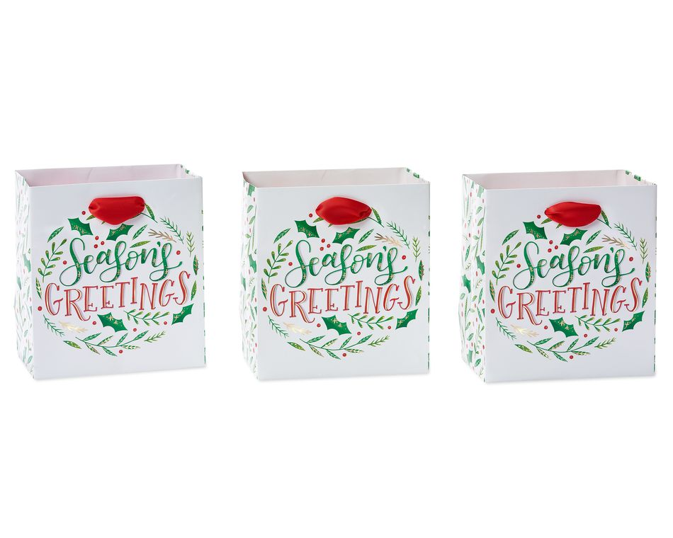 Christmas Holiday Lettering Gift Bag Set, 6-Count