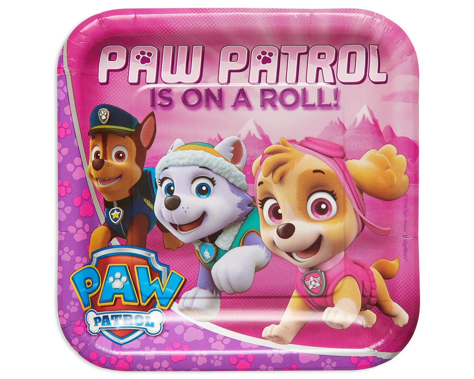 paw patrol pink dinner plate 8 ct