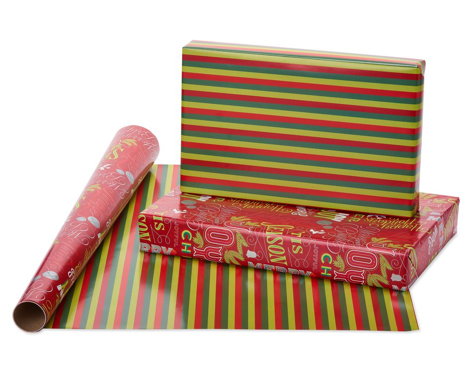 Christmas Mickey Reversible and Holiday Text Reversible Christmas Wrapping Paper, 2-Roll