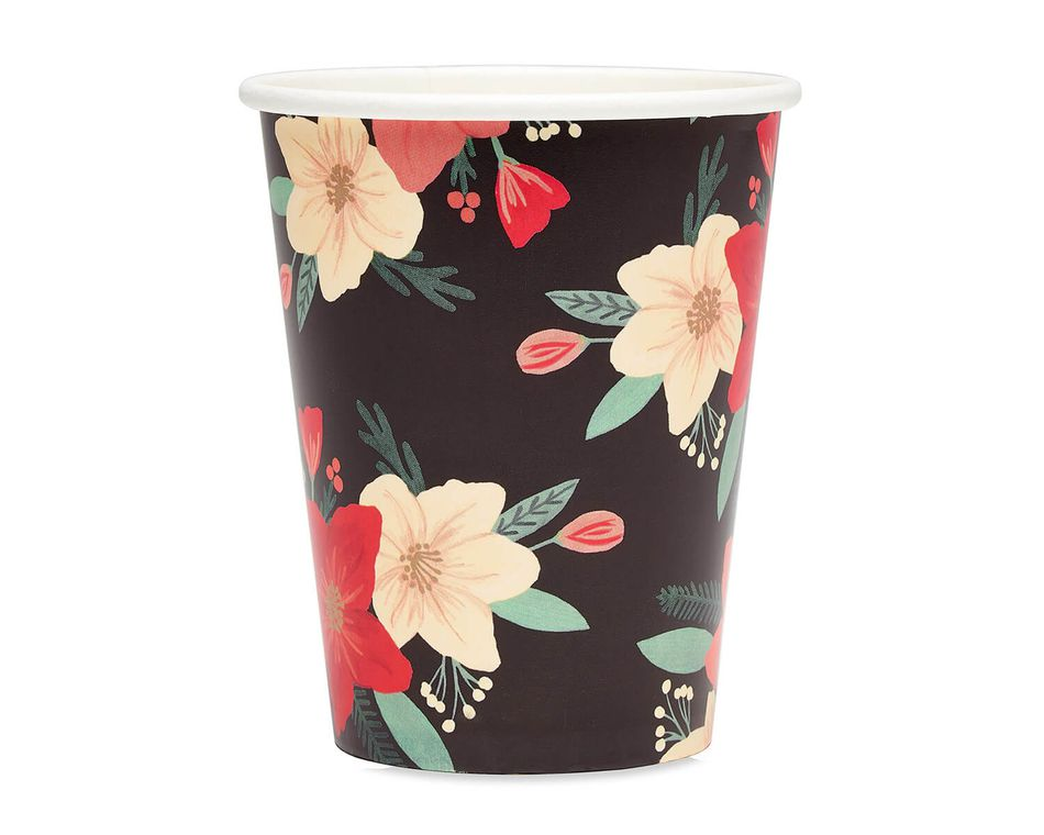 Winter Floral 9 oz. Paper Cups, 8-Count