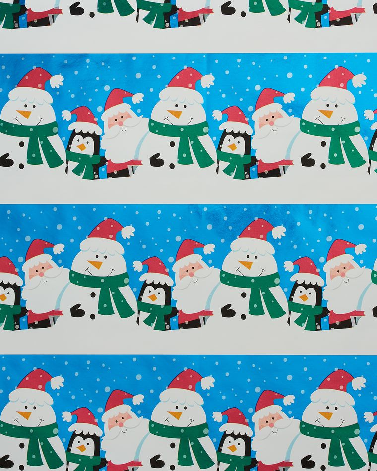 Santa and Friends Foil Christmas Wrapping Paper, 25 Sq. Ft.